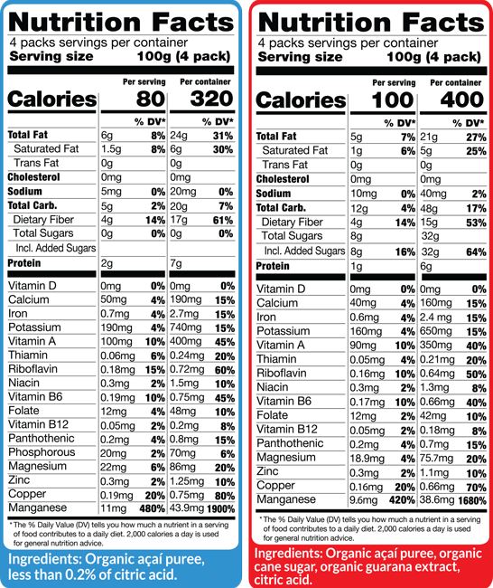 Acai Combo Packs Box Nutritional Facts