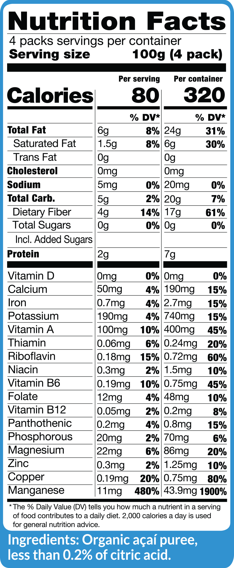 Acai Pure and Unsweetened Fruit Packs Nutritional Facts