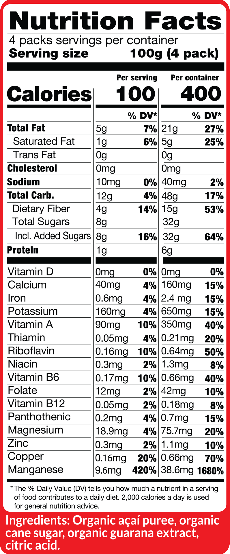 Acai Traditional Mix Fruit Packs Nutritional Facts