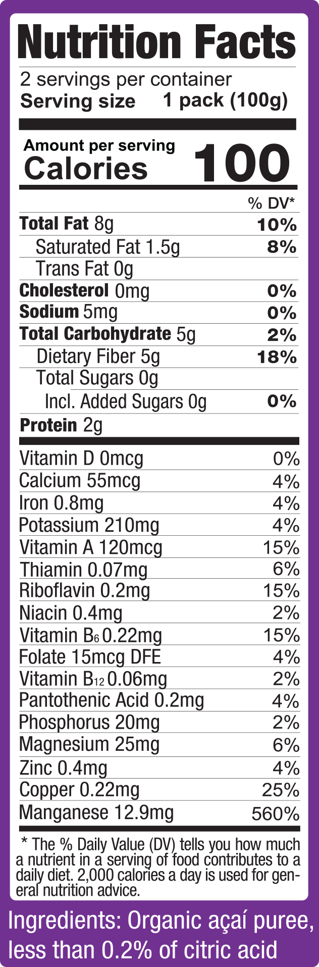 Acai Premium Grade Fruit Packs Nutritional Facts
