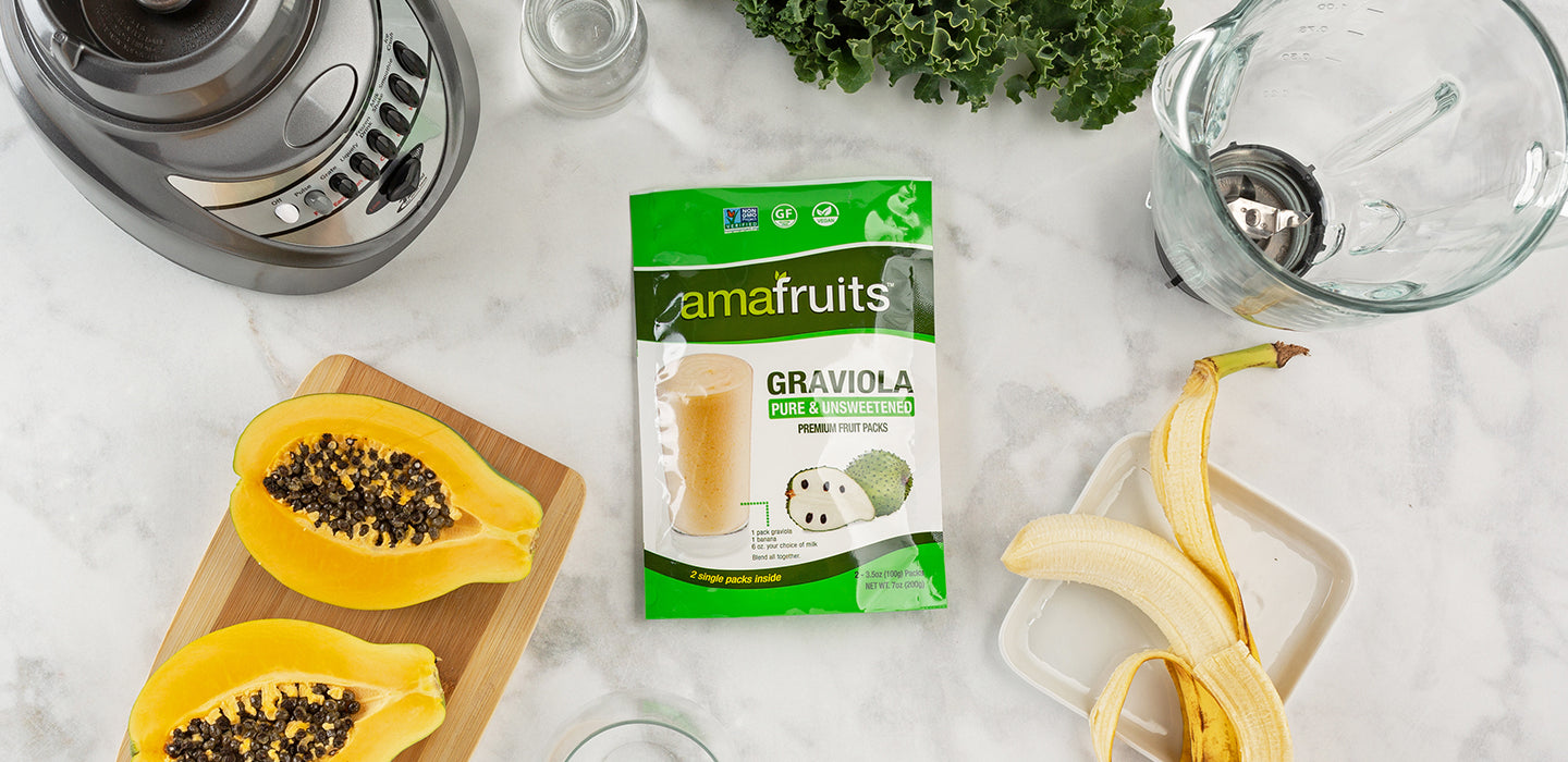 Ingredients for Graviola, Banana, Papaya and Greens smoothie