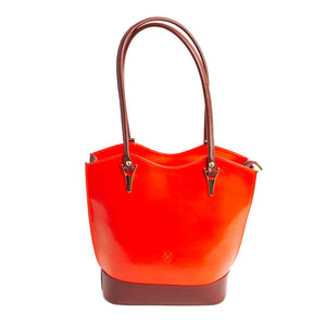 Bold Italian Leather Convertible Purse - Orange