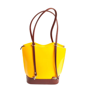 Bold Italian Leather Convertible Purse - Canary Yellow