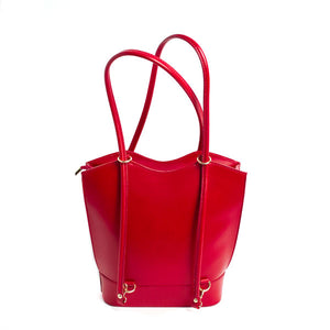 Bold Italian Leather Convertible Purse - Real Red