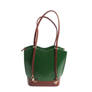Bold Italian Leather Convertible Purse - Evergreen