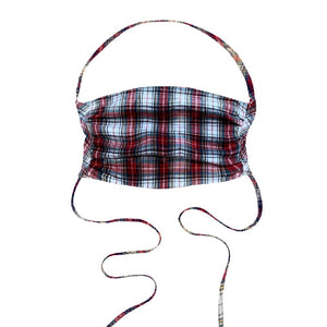 Designer Face Covering  White Cotton Gingham