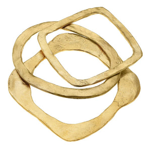 Susan Shaw Set of 3 Hammered Bangles