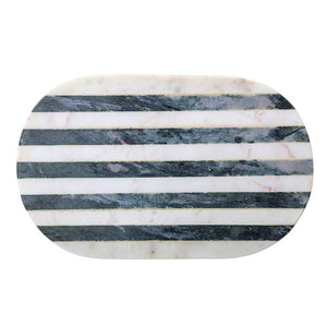 Black and White Stripe Marble Tray/Cutting Board