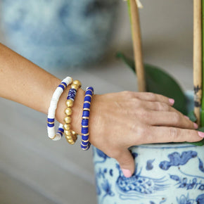 Susan Shaw Blue & White Savannah Stack Bracelets