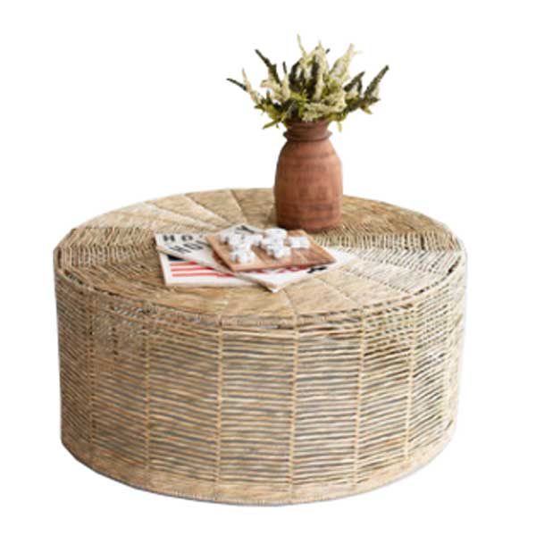 Hand-Braided Round Seagrass Ottoman/Coffee Table