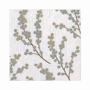 Berry Branches Paper Cocktail Napkins in White and Silver