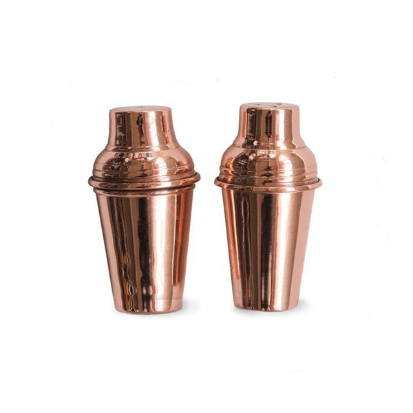 Set of 2 Stainless Steel Salt & Pepper Shakers w/ Copper Finish