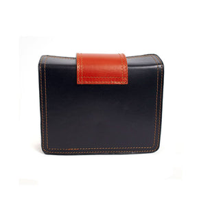 Bold Italian Leather Crossbody Clutch - Navy
