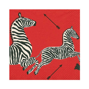 Caspari Red Zebra Cocktail Napkins