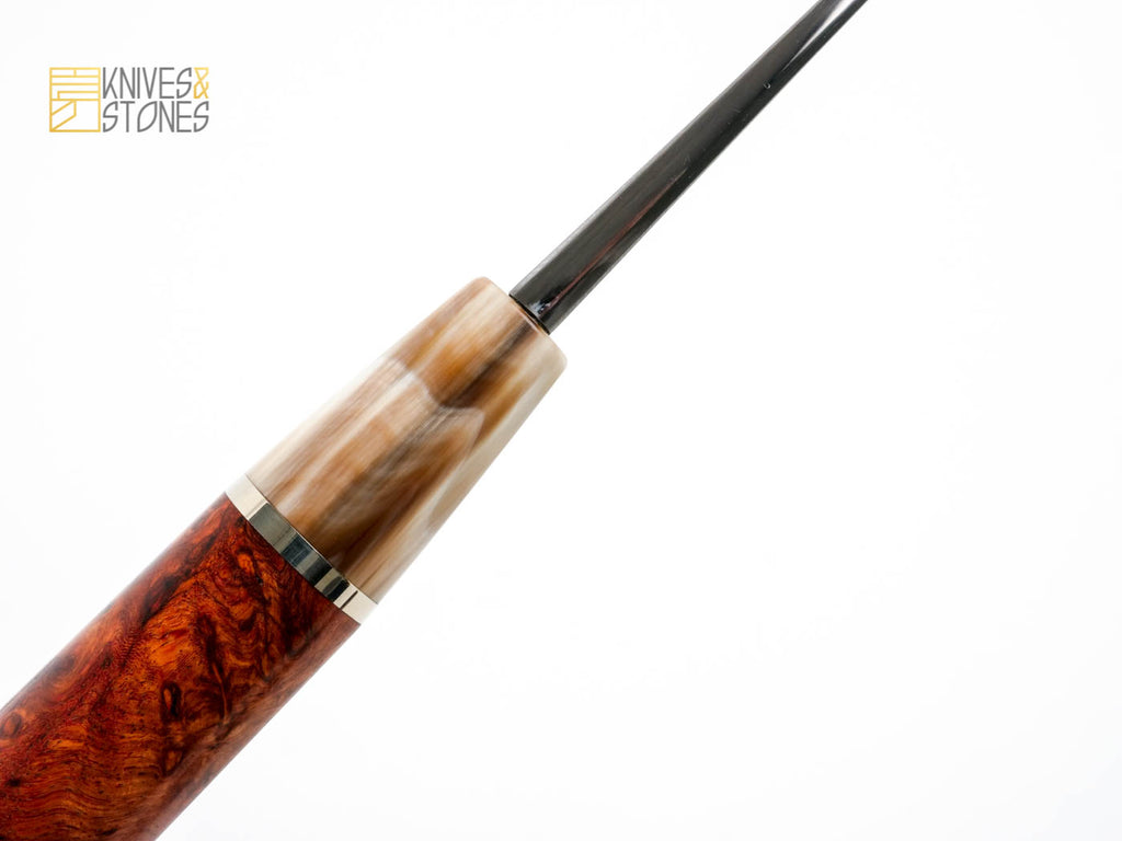 K&S special Amboyna burl, D shaped handle, with red marble horn ferrule installed
