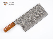 Load image into Gallery viewer, Takeshi Saji Chinese Cleaver, R2 Damascus with Ironwood handle
