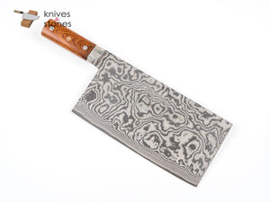 Takeshi Saji Chinese Cleaver, R2 Damascus with Ironwood handle