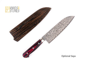 Yoshimi Kato SG2 / R2 Etched Black Damascus Santoku 180mm with Western Handle