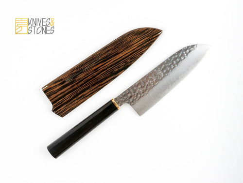 Kurosaki Senko (閃光) SG2/R2 Santoku 165mm, with tapered D-shape Ebony handle and FREE SAYA