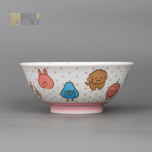 Mino Ware Kids Dish 4 pcs Set Animal Faces Japanese Tableware