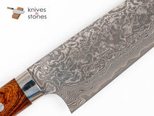 Load image into Gallery viewer, Takeshi Saji Etched Black Damascus R2 Santouku 180mm Ironwood Handle