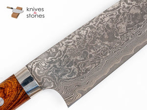 Takeshi Saji Etched Black Damascus R2 Santouku 180mm Ironwood Handle