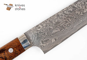 Takeshi Saji Etched Black Damascus R2 Gyuto 210mm Ironwood Handle