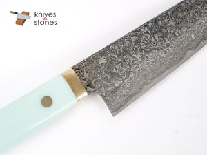 Mr. Itou R2 Damascus Gyuto 180mm Teal Corian Handle