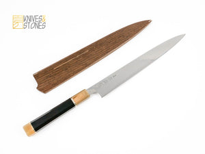 PROMOTION: Sukenari ZDP-189 Damascus Sujihiki 270mm with handle upgrade and Saya