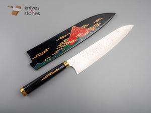 Takeshi Saji Urushi & Makie 'Red Fuji' Diamond Damascus R2 Gyuto 240mm