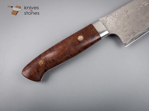 Takeshi Saji Diamond Damascus R2 Santoku 180mm Ringed Gidgee Handle