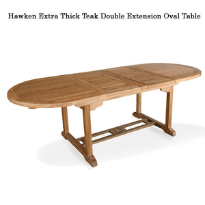 Hawken teak double extension Outdoor Oval table  (AVAILABLE IN 3 SIZES)