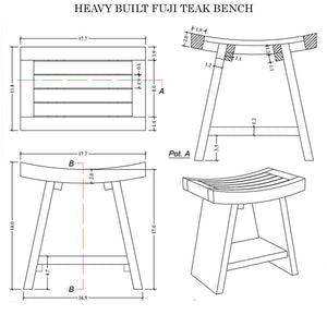 Heavy Fuji-I Teak Shower Bench or Pool Side Bench Chair Height Stool