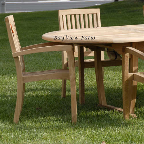 New 7Pc teak outdoor dining set with one table and 6 Patara chairs with cushions