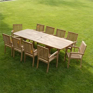 New 11pc Grade-A Teak Outdoor Dining Set-one Double Extension Table 95x40 & 10 Patara Stacking Arm Chairs + cushions