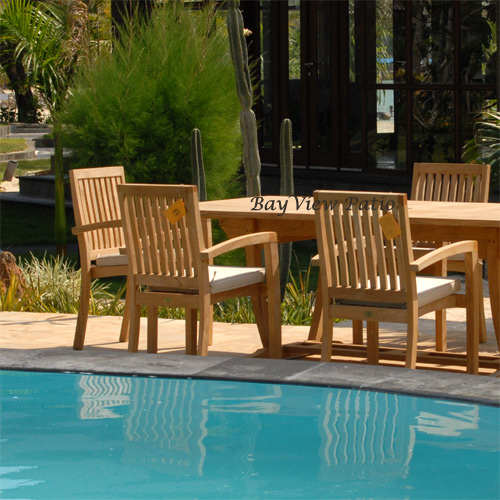 New 9pc Grade-A Teak Outdoor Dining Set-one Double Extension Table 95x40 & 8 Patara Stacking Arm Chairs + cushions