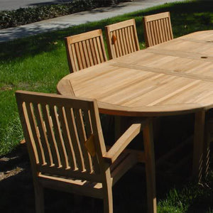 New 9pc Grade-A Teak Outdoor Dining Set-one Double Extension Oval Table 95x40 & 8 Patara Stacking Arm Chairs + cushions