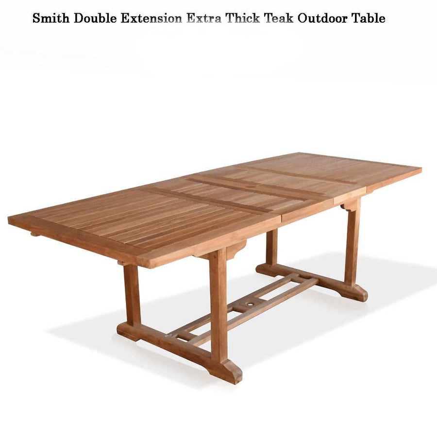 Smith Teak Double Extension Rectangle Table   (Available in 3 sizes)