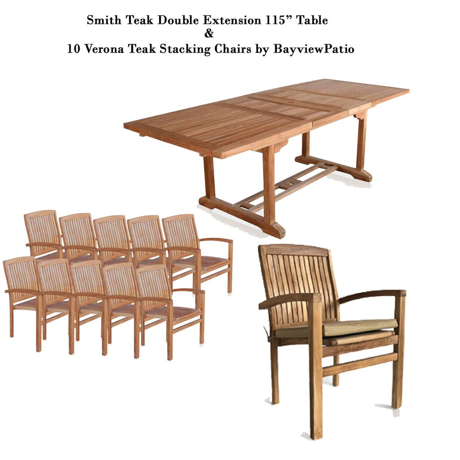 New 11pc Grade-A Teak Outdoor Dining Set-one Double Extension Table 115x40 & 10 Verona Stacking Arm Chairs + cushions