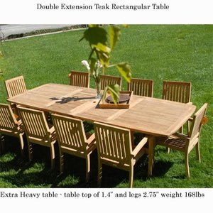 New 11pc Grade-A Teak Outdoor Dining Set-one Double Extension Table 115x40 & 10 Patara Stacking Arm Chairs + cushions