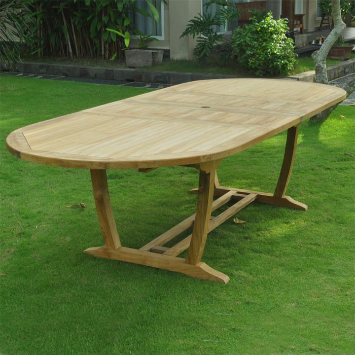 New 9pc Grade-A Teak Outdoor Dining Set-one Double Extension Oval Table 95x40 & 8 Verona Stacking Arm Chairs + cushions