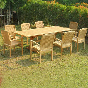 Teak Outdoor Heavy Built Double Extension Rectangle Dining Table Carpenter
