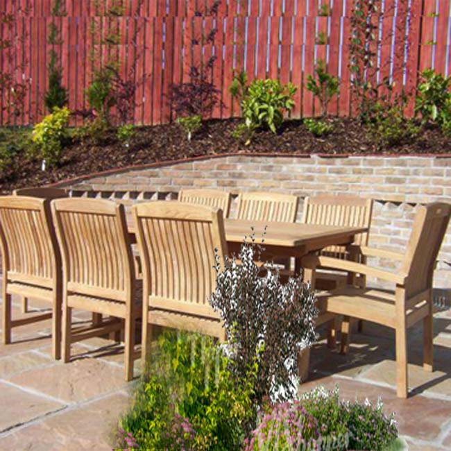 New 9pc Grade-A Teak Outdoor Dining Set-one Double Extension Table 95x40 & 8 Verona Stacking Arm Chairs + cushions