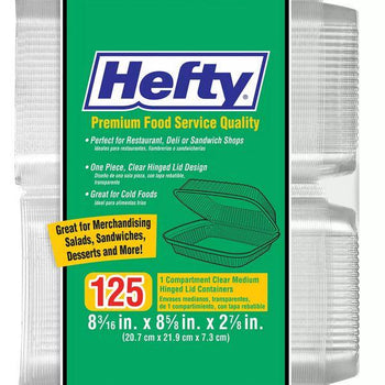 "Hefty Clear Hinged Tray - 8"" x 8"" - 125 ct."