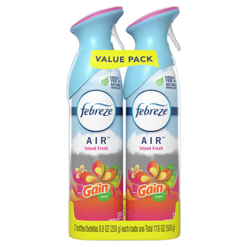 Febreze Odor Eliminating Air Freshener with Gain Scent Island Fresh 8.8 fl Oz 2 Pack