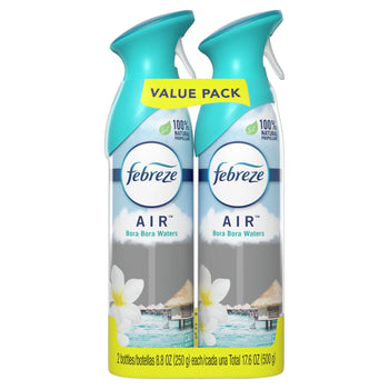 Febreze Odor Eliminating Air Freshener Bora Bora Waters Pack of 2 8.8 Oz each