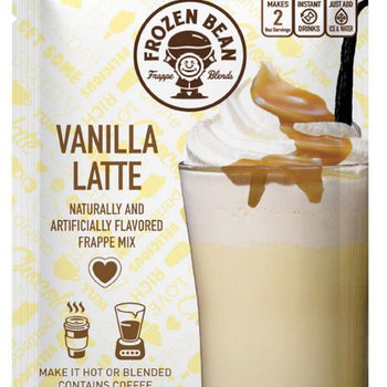 (12 Pack) Frozen Bean Vanilla Latte Frappe Mix Instant Coffee Packets, 2.8 oz Bag
