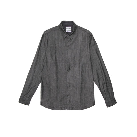 DENIM LONG SLEEVE SHIRT - BLACK