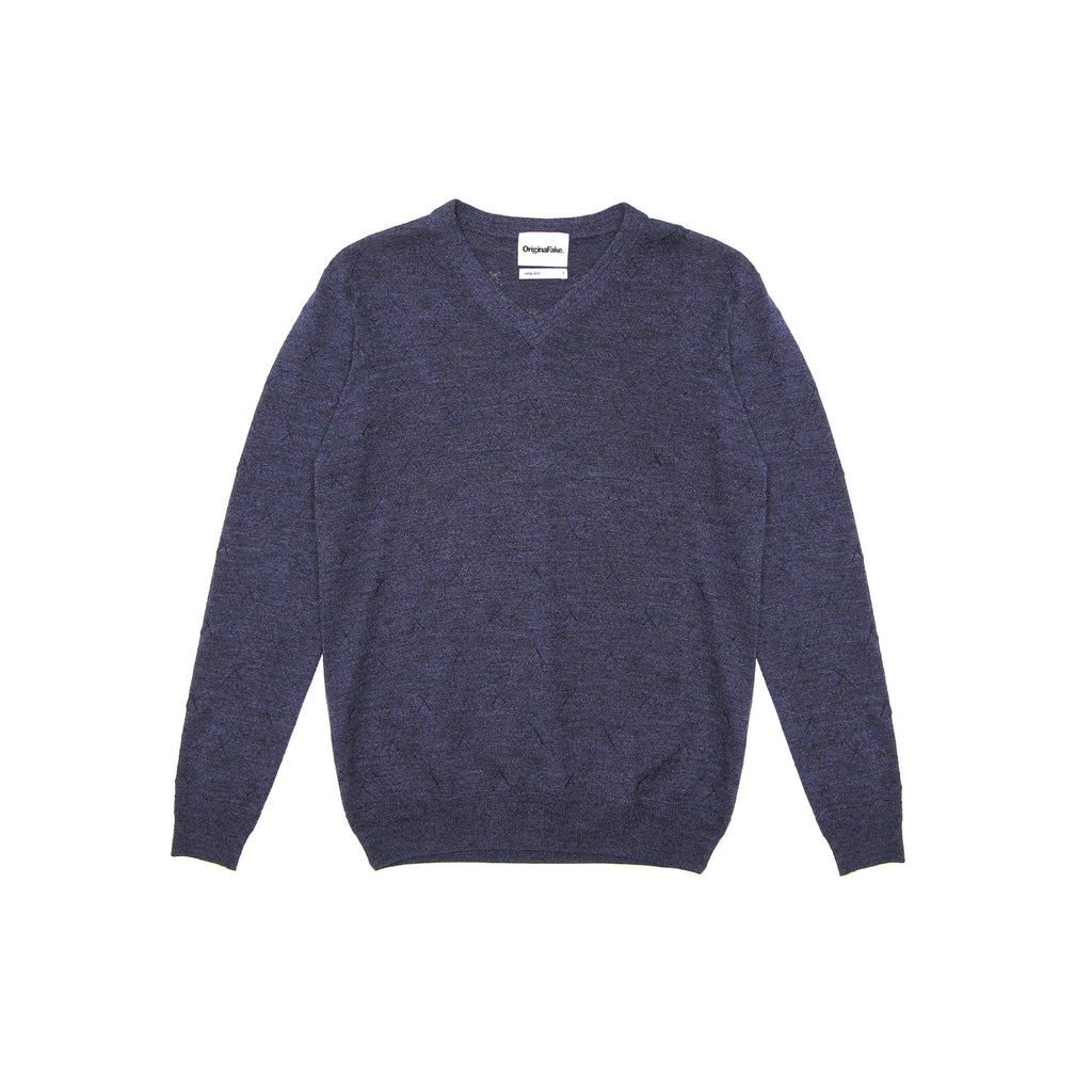 ORIGINALFAKE X EMBROIDERED V-NECK SWEATER - NAVY