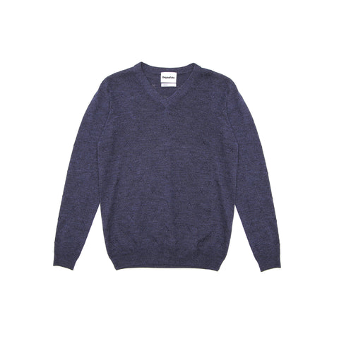 X EMBROIDERED V-NECK SWEATER - NAVY